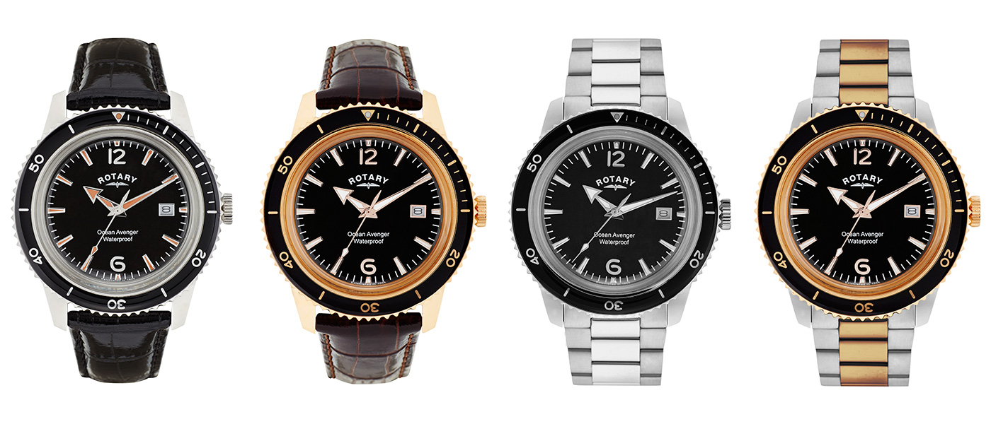 The four watches in the Ocean Avenger range. Two on leather and two on stainless steel.